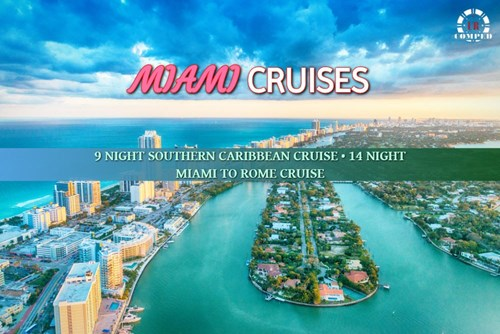 Elite Cruises from Miami - 9 Night Round Trip and 14 Night Rome!